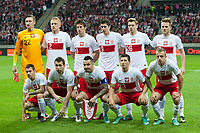 Football - World Cup 2014 Qualifier - Poland vs. England<br /> Poland team group at the National Stadium, Warsaw<br /> Back row (L-R): Przemyslaw Tyton, Kamil Glik, Grzegorz Krychowiak, Robert Lewandowski, Lukasz Piszczek, Eugen Polanski<br /> Front row (L-R): Ludovic Obraniak, Jakub Wawrzyniak, Marcin Wasilewski, Pawel Wszolek, Kamil Grosicki