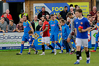 Football - 2021 / 2022 Emirates FA Cup - First Round Qualifying - Bootle vs. FC United of Manchester - Berry Street Garage Stadium - Saturday 4th September 2021<br /> <br /> The two teams walk out before the kick off, at the Berry Street Garage Stadium.<br /> <br /> COLORSPORT/Alan Martin