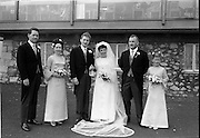 """16/09/1967<br /> 09/16/1967<br /> 16 September 1967<br /> Wedding of Mr Francis W. Moloney, 28 The Stiles Road, Clontarf and Ms Antoinette O'Carroll, """"Melrose"""", Leinster Road, Rathmines at Our Lady of Refuge Church, Rathmines, with reception in Colamore Hotel, Coliemore Road, Dalkey. Image shows (l-r); Unnamed gentleman; Matron of Honour Gladys McGloughlin; the Bride and Groom; Bestman, Michael Power and unnamed Bridesmaid outside hotel."""