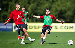 CARDIFF, WALES - Monday, August 31, 2020: Wales' Joe Lewis (Swansea City FC) (L) and Liam Cullen (R) during a training session at the Vale Resort ahead of the UEFA Under-21 Championship Qualifying Round Group 9 match between Bosnia and Herzegovina and Wales. (Pic by David Rawcliffe/Propaganda)