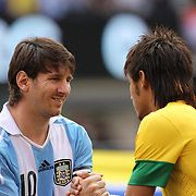 Lionel Messi, Argentina, shakes hands with Neymar, Brazil, during the team presentations before the Brazil V Argentina International Football Friendly match at MetLife Stadium, East Rutherford, New Jersey, USA. 9th June 2012. Photo Tim Clayton