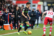 Forest Green Rovers Liam Shephard(2) on the ball during the EFL Sky Bet League 2 match between Stevenage and Forest Green Rovers at the Lamex Stadium, Stevenage, England on 26 January 2019.