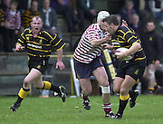 Esher, Surrey. ENGLAND.<br /> <br /> Photo Peter Spurrier<br /> 04/05/2002<br /> Sport - Rugby Union<br /> Tetley's County Championship 1 st Rd<br /> Surrey vs Cornwall<br /> Full back Steve Larkins joins the attacking line.