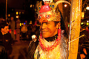 A dancer waiting to join the parade