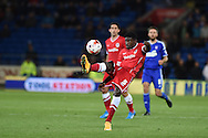 Bruno Ecuele Manga of Cardiff city in action. Skybet football league championship match, Cardiff city v Ipswich Town at the Cardiff city stadium in Cardiff, South Wales on Tuesday 21st October 2014<br /> pic by Andrew Orchard, Andrew Orchard sports photography.