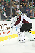 DALLAS, TX - NOVEMBER 1:  Semyon Varlamov #1 of the Colorado Avalanche controls the puck against the Dallas Stars on November 1, 2013 at the American Airlines Center in Dallas, Texas.  (Photo by Cooper Neill/Getty Images) *** Local Caption *** Semyon Varlamov
