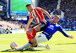 Everton's Bryan Oviedo tackles Dusan Tadic of Southampton - Mandatory by-line: Matt McNulty/JMP - 16/04/2016 - FOOTBALL - Goodison Park - Liverpool, England - Everton v Southampton - Barclays Premier League