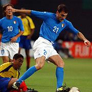 Italy's Christian Vieri comes away from Ecuador's Edwin Tenorio