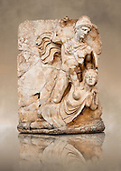 Photo of Roman releif sculpture of Emperor Claudius About to vanquish Britanica from Aphrodisias, Turkey, Images of Roman art bas releifs. Buy as stock or photo art prints. Naked warrior Claudius id about to deliver the death blow to Britanica.   From The South Building, Rooms 1-3, Mythological Releifs. .<br /> <br /> If you prefer to buy from our ALAMY STOCK LIBRARY page at https://www.alamy.com/portfolio/paul-williams-funkystock/greco-roman-sculptures.html . Type -    Aphrodisias     - into LOWER SEARCH WITHIN GALLERY box - Refine search by adding a subject, place, background colour, museum etc.<br /> <br /> Visit our ROMAN WORLD PHOTO COLLECTIONS for more photos to download or buy as wall art prints https://funkystock.photoshelter.com/gallery-collection/The-Romans-Art-Artefacts-Antiquities-Historic-Sites-Pictures-Images/C0000r2uLJJo9_s0
