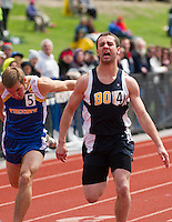 Bow's Jordan Birtz crossing the finish line of the 100 meter dash at Sunday's Division III Track Championships at Interlakes High School.  (Karen Bobotas/for the Concord Monitor)