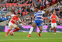 Arsenal's Alexis Sánchez scores his sides first goal  <br /> <br /> Photographer Ian Cook/CameraSport<br /> <br /> Football - The FA Cup Semi-Final - Reading v Arsenal - Saturday 18th April 2015 - Wembley - London<br /> <br /> © CameraSport - 43 Linden Ave. Countesthorpe. Leicester. England. LE8 5PG - Tel: +44 (0) 116 277 4147 - admin@camerasport.com - www.camerasport.com