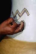 Zaporo Indian painting pottery<br />Amazon Rain Forest, ECUADOR,  South America