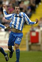 Photo Aidan Ellis, Digitalsport<br /> NORWAY ONLY<br /> <br /> Lincoln City v Huddersfield Town.<br /> Third Divison Play Off Semi Final 1st leg.<br /> 15/05/2004.<br /> Huddersfield's David mirfin celebrates scoring the win ning goal