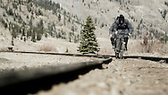 Rene Wildhaber and Ross Schnell ride their old Swiss army bike during the Red Bull Buffalo Soldier Mountain Bike Trip in USA in Silverton (Colorado), on October 09th 2012.