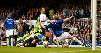 Photo. Jed Wee, Digitalsport<br /> NORWAY ONLY<br /> <br /> Everton v Bolton Wanderers, FA Barclaycard Premiership, 08/05/2004.<br /> Bolton's Youri Djorkaeff (C) scores the winning goal past the despairing Nigel Martyn (L) and Steve Watson.