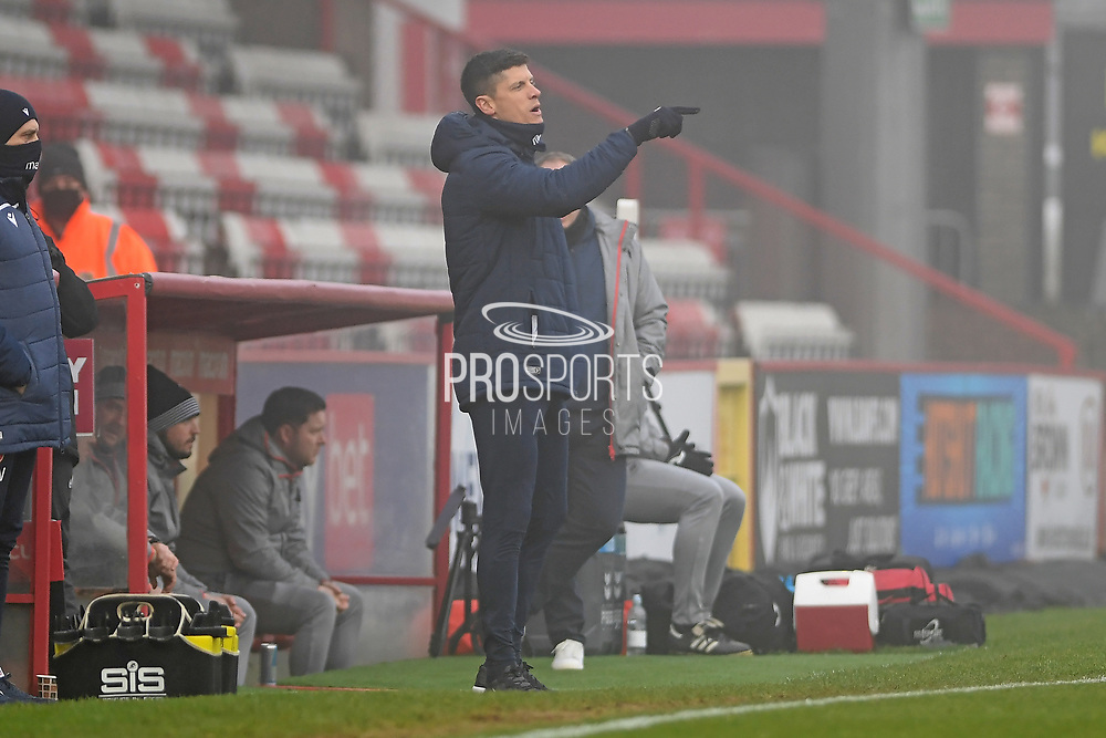 Stevenage manager Alex Revell in the technical area during the FA Cup match between Stevenage and Swansea City at the Lamex Stadium, Stevenage, England on 9 January 2021.