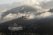 Sunrise over the Rinpung Dzong in Paro through the mist, Bhutan, 2014