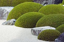 Rocks, shrubs and gravel in dry zen garden at Adachi Art Museum in Japan