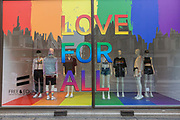 A window on Regents Street celebrates Pride with rainbow colours and a 'Love For All' display on the 5th July 2018 in London in the United Kingdom. London celebrates equality ahead of Pride London Festival.