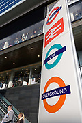 London transport logos on a pillar at Westfield City shopping centre in Stratford, home and main arrival point for rail travellers to the 2012 Olympics. Situated on the fringe of the 2012 Olympic park, Westfield is Europe's largest urban shopping centre. The £1.45bn complex houses more than 300 shops, 70 restaurants, a 14-screen cinema, three hotels, a bowling alley and the UK's largest casino. It will provide the main access to the Olympic park for the 2012 Games and a central 'street' will give 75% of Olympic visitors access to the main stadium