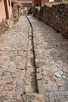 Chincheros town street in the peruvian Andes at Cuzco Peru