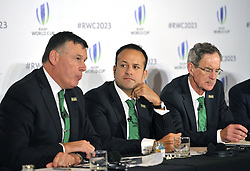 (left to right) IRFU Chief Executive Philip Brown, Taoiseach, Leo Varadkar and Dick Spring Chairman, Ireland 2023 Oversight Board, during the 2023 Rugby World Cup host candidates presentations at the Royal Garden Hotel in London, where they are bidding to host the event against France and South Africa.