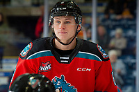KELOWNA, BC - OCTOBER 12: Kaedan Korczak #6 of the Kelowna Rockets warms up on the ice against the Kamloops Blazers at Prospera Place on October 12, 2019 in Kelowna, Canada. Korczak was selected by the Vegas Golden Knights in the 2029 NHL entry draft. (Photo by Marissa Baecker/Shoot the Breeze)