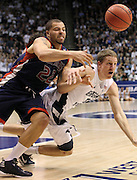 St. Mary's forward Rob Jones (22) and BYU forward Brock Zylstra, right, battle for a loose ball during the first half of an NCAA college basketball game in Provo, Utah, Saturday, Jan. 28, 2012. (AP Photo/Colin E Braley)