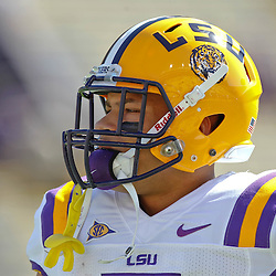 October 1, 2011; Baton Rouge, LA, USA;  LSU Tigers cornerback Tyrann Mathieu (7) prior to kickoff of a game against the Kentucky Wildcats at Tiger Stadium.  Mandatory Credit: Derick E. Hingle-US PRESSWIRE / © Derick E. Hingle 2011
