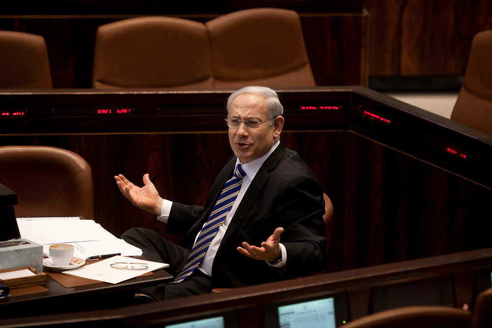 Israel's Prime Minister Benjamin Netanyahu attends a session of the Knesset, Israel's parliament in Jerusalem, on March 14, 2012.