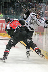 19.12.2014, Lanxess Arena, Koeln, GER, DEL, Koelner Haie vs Nuernberg Ice Tigers, 28. Runde, im Bild v.l. Evan Rankin (Koelner Haie), Marco Nowak (Nuernberg Ice Tigers) // during Germans DEL Icehockey League 28th round match between Koelner Haie vs Nuernberg Ice Tigers at the Lanxess Arena in Koeln, Germany on 2014/12/19. EXPA Pictures © 2014, PhotoCredit: EXPA/ Eibner-Pressefoto/ Kohring<br /> <br /> *****ATTENTION - OUT of GER*****