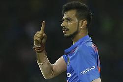 March 6, 2018 - Colombo, Sri Lanka - Indian cricketer Yuzvendra Chahal reacts after taking a wicket during the 1st T20 cricket match of NIDAHAS Trophy between Sri Lanka and India at R Premadasa cricket ground, Colombo, Sri Lanka on Tuesday 6 March 2018  (Credit Image: © Tharaka Basnayaka/NurPhoto via ZUMA Press)