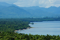 View of Wasile Bay, coast and mountains of Halmahera Island, Indonesia.
