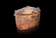 The Minoan clay burial larnax chest with swirl design,  Neopalatial period 1700-1450 BC; Heraklion Archaeological  Museum, black background. .<br /> <br /> If you prefer to buy from our ALAMY PHOTO LIBRARY  Collection visit : https://www.alamy.com/portfolio/paul-williams-funkystock/minoan-art-artefacts.html . Type -   Heraklion   - into the LOWER SEARCH WITHIN GALLERY box. Refine search by adding background colour, place, museum etc<br /> <br /> Visit our MINOAN ART PHOTO COLLECTIONS for more photos to download  as wall art prints https://funkystock.photoshelter.com/gallery-collection/Ancient-Minoans-Art-Artefacts-Antiquities-Historic-Places-Pictures-Images-of/C0000ricT2SU_M9w