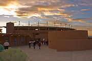 Santa Fe Opera building, Crosby Theatre, at Sunset.