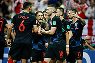 Ivan Perisic of Croatia celebrates with teammates after his 1-1 equalizing goal during the 2018 FIFA World Cup Russia, semi-final football match between Croatia and England on July 11, 2018 at Luzhniki Stadium in Moscow, Russia - Photo Thiago Bernardes / FramePhoto / ProSportsImages / DPPI