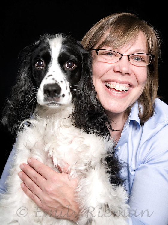 Studio portraits of people with their pets.