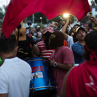 During a demonstration against Juan Orlando Hernández, marchers were accompanied by marching bands.