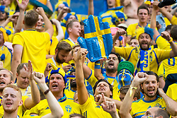 July 3, 2018 - St Petersburg, RUSSIA - 180703 Fans of Sweden celebrate after their team winning the FIFA World Cup round of 16 match between Sweden and Switzerland on July 3, 2018 in St Petersburg..Photo: Joel Marklund / BILDBYRÃ…N / kod JM / 87748 (Credit Image: © Joel Marklund/Bildbyran via ZUMA Press)