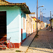 A typical street scene in the historical town of Trinidad, Cuba.