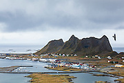 Port infrastructure in the harbor of the village of Sorland, Vaeroy Island, Lofoten Islands, Norway.