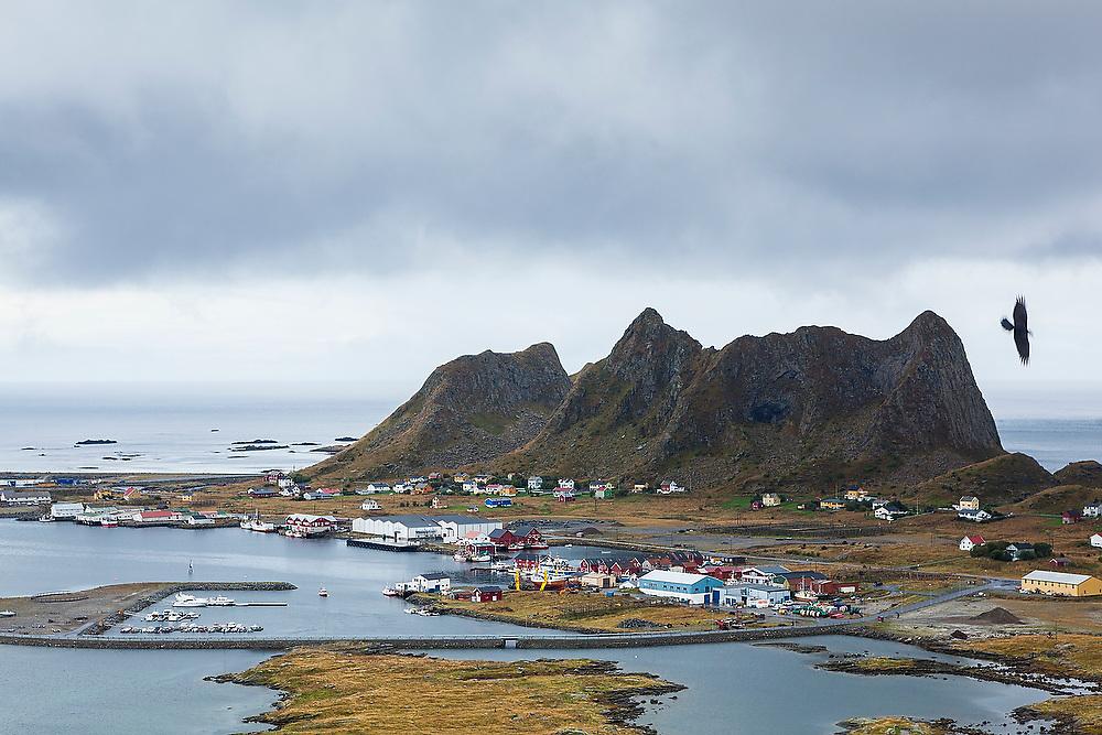 Port infrastructure in the harbor of the village of Sorland, Vaeroy Island, Lofoten Islands, Norway.