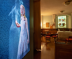 "22 May, 2018. Edinburgh, Scotland, UK. Video installation ""Three Women"" by Bill Viola at St. Cuthbert's Parish Church in Edinburgh. Although on display since 1 May, the display has not been publicised until this week."