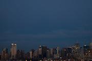 Evenng view of the Manhattan slyline from Hoboken, New Jersey.