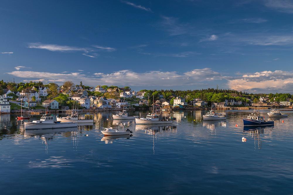 Boats moored in harbor in summer, Deer Isle, Stonington, ME