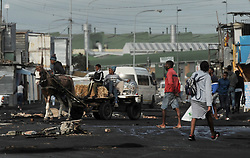 South Africa - Cape Town - 2 June 2020 - Protesters in Joe Slovo informal settlement burned tyres and barricaded the road this morning. Photographer: Armand Hough/African News Agency(ANA)