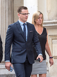 © Licensed to London News Pictures. 06/08/2018. Bristol, UK.  RYAN HALE (wearing glasses) arrives at Bristol Crown court today for the start of his trial on charges of affray that relate to a fight outside a Bristol nightclub on September 25 2017. England cricketer Ben Stokes and two other men, Ryan Ali, 28, and Ryan Hale, 27, all deny the charge. Stokes, Ali and Hale are jointly charged with affray in the Clifton Triangle area of Bristol on September 25 last year, several hours after England had played a one-day international against the West Indies in the city. A 27-year-old man allegedly suffered a fractured eye socket in the incident. Photo credit: Simon Chapman/LNP