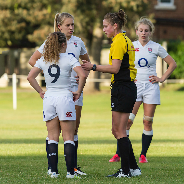 Referee Sara Cox speaks to Captain Millie Wood and Lucy Nye, U20 England Women v U20 Canada Women at Trent College, Derby Road, Long Eaton, England, on 26th August 2016