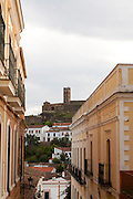 Tower and Moorish mosque at Almonaster La Real, Sierra de Aracena, Huelva province, Spain