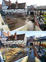 ** Composition showing before and after pictures of floods in York** © Licensed to London News Pictures. 29/12/2015. York, UK.  Flooding at The Red Lion pub in central York pictured BOTTOM on December 27th and TOP December 29th (TODAY). Photo credit: Ben Cawthra/LNP